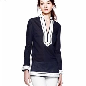 Tory Burch Navy and and White Cotton Voile Tunic